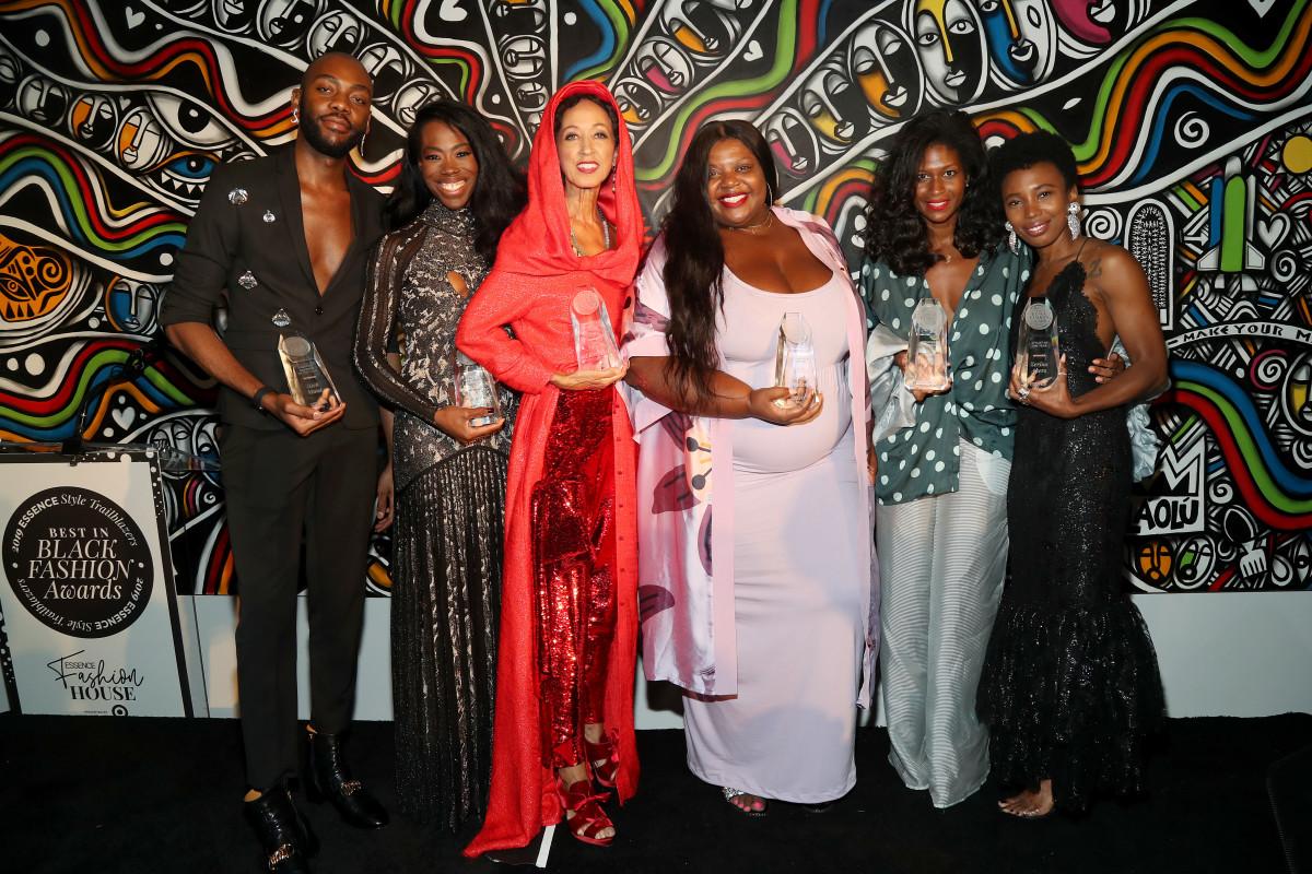 From left to right: Best in Black Fashion award winners Rich Mnisi, Aminah Abdul Jillil, Pat Cleveland, Itaysha Jordan, Fe Noel and Zerina Akers. Photo: Bennett Raglin/Getty Images