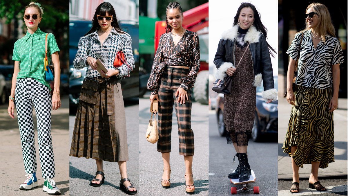 On the street at New York Fashion Week Spring 2020. Photos: Jeremy Kang/Fashionista (3); Imaxtree (2)
