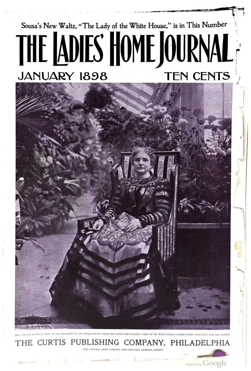 Photograph of Ida McKinley on the cover of Ladies' Home Journal, vol. 15, no. 2, January 1898.