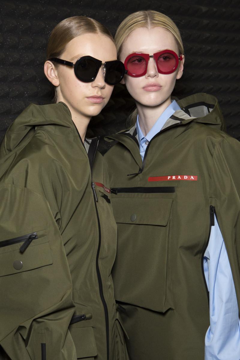 Models backstage at the Prada Fall 2019 show. Photo: Imaxtree
