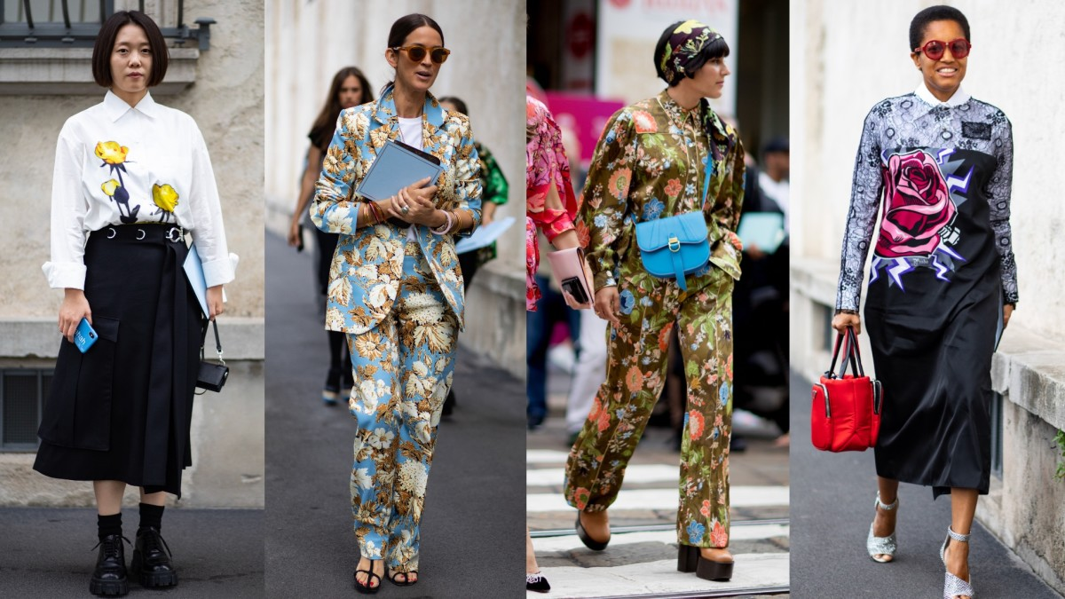 Spring 2020 Fashion Week.Unconventional Florals Ruled The Streets On Day 1 Of Milan