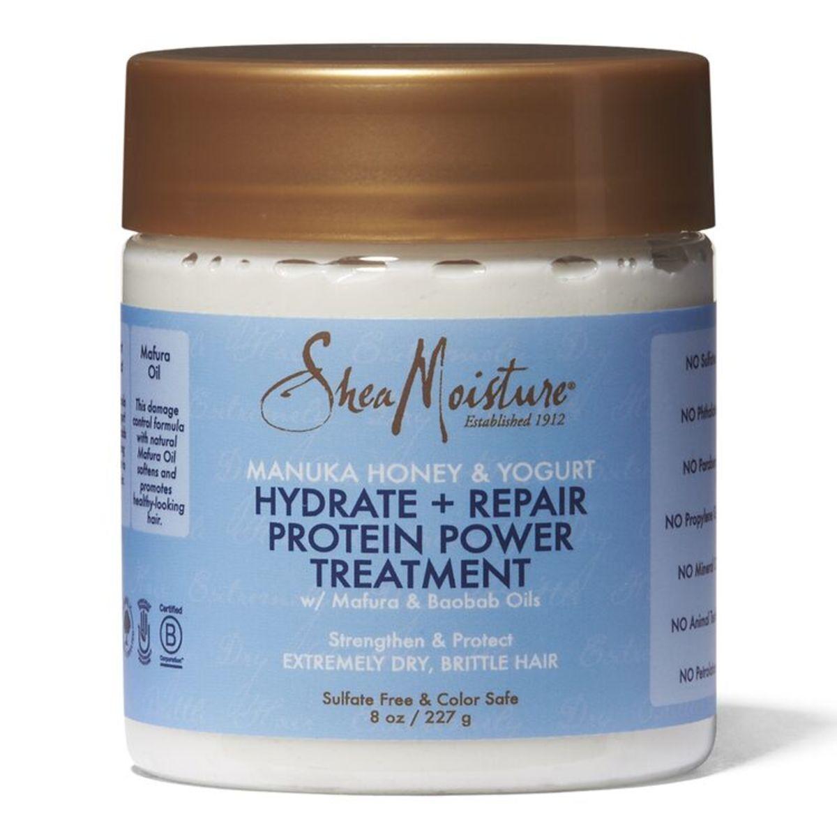 Shea Moisture Manuka Honey & Yogurt Hydrate + Repair Protein Power Treatment, $11.49, available here.