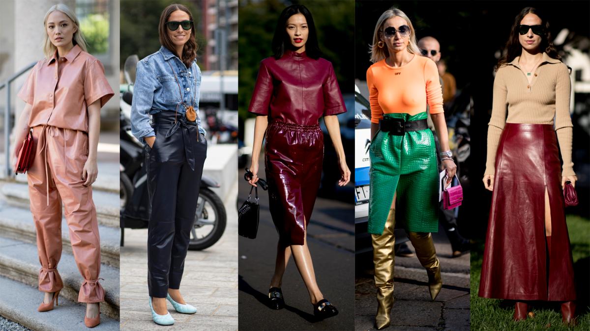 On the street at Milan Fashion Week Spring 2020. Photo: Chiara Marina Grioni/Fashionista (1), Imaxtree (4)