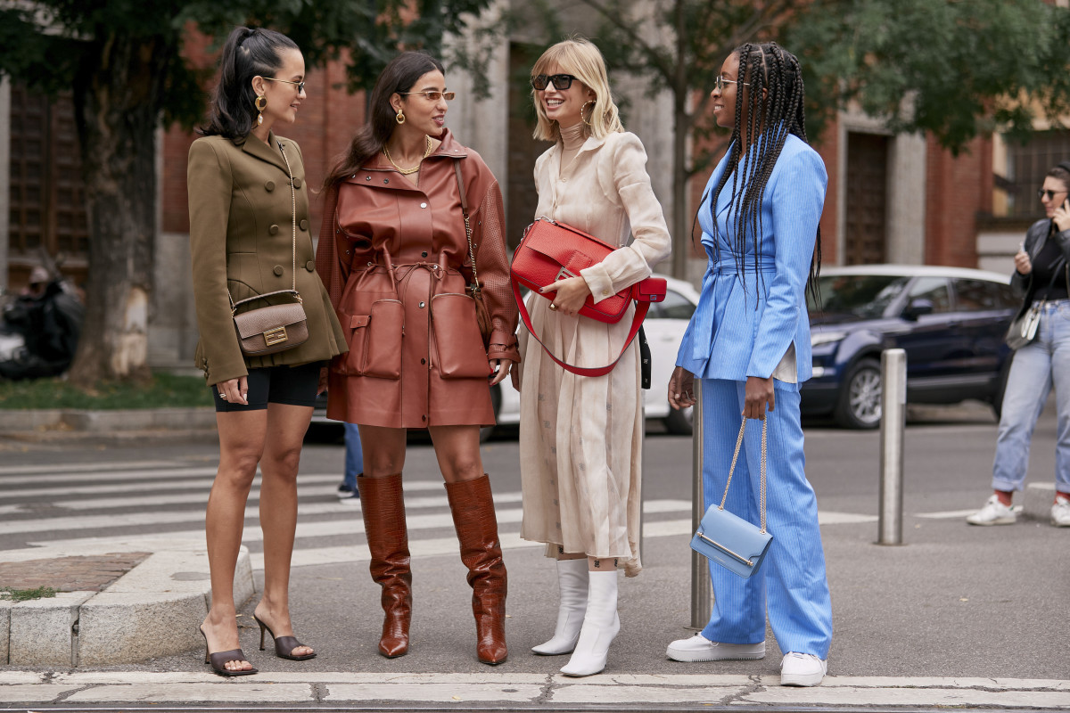 On the street at Milan Fashion Week Spring 2020. Photo: Imaxtree