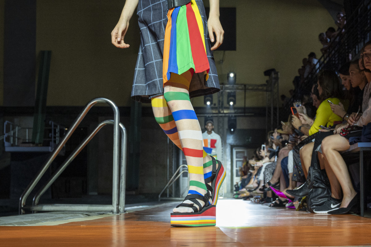 Shoes on the runway at United Colors of Benetton's Spring 2020 show. Photo: Pietro D'Aprano/Getty Images