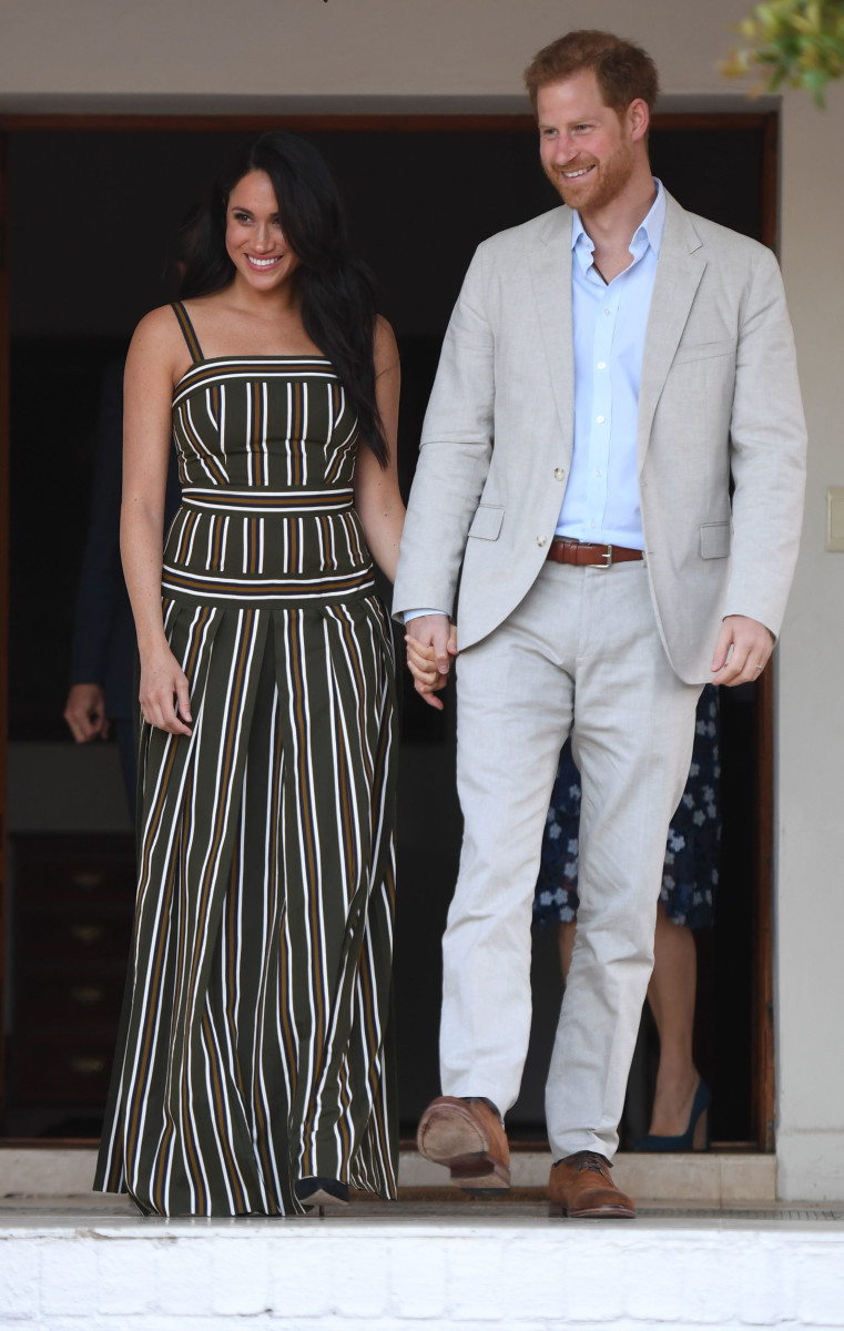 The Duchess of Sussex in Martin Grant and Duke of Sussex in Cape Town, South Africa. Photo: Paul Edwards - Pool/Getty Images