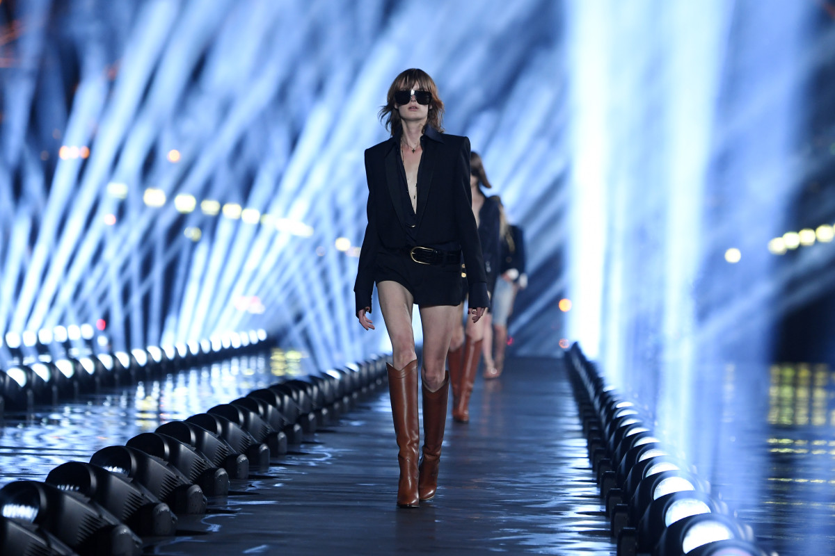 A look from the Saint Laurent Spring 2020 collection. Photo: Pascal Le Segretain/Getty Images