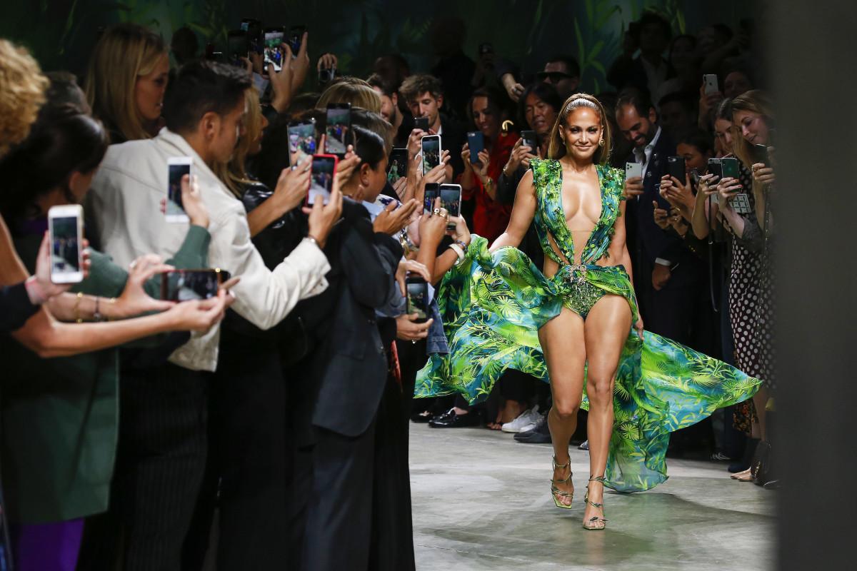 Jennifer Lopez at Versace's Spring 2020 show. Photo: Estrop/Getty Images
