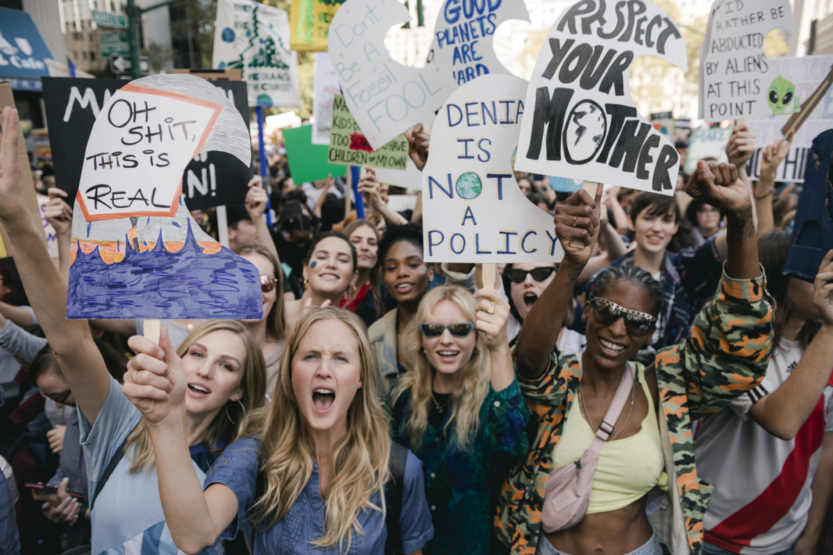 """Members of the """"model mafia"""" at the Climate Strike in New York City. Photo: Benjamin Rosser"""