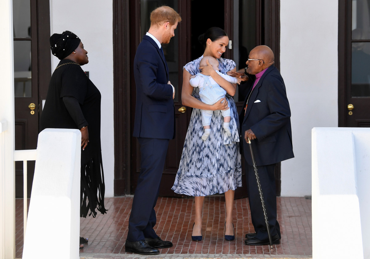 Prince Harry, Duke of Sussex, Meghan, Duchess of Sussex in Club Monaco and their baby son Archie Mountbatten-Windsor meet Archbishop Desmond Tutu and his daughter Thandeka Tutu-Gxashe during their royal tour of South Africa. Photo: Toby Melville - Pool/Getty Images