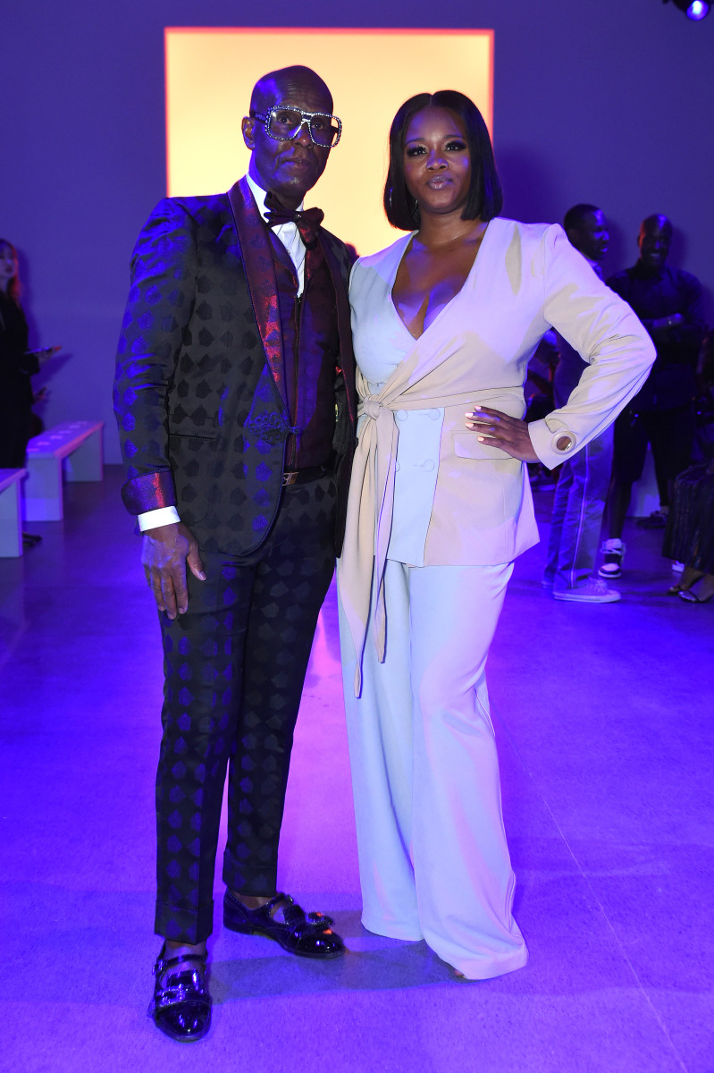 Claire Sulmers with Dapper Dan at Aliette's Spring 2020 show during New York Fashion Week. Photo: Yuchen Liao/Getty Images