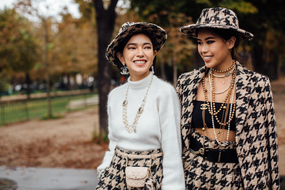 On the street at Paris Fashion Week Spring 2020. Photo: Imaxtree