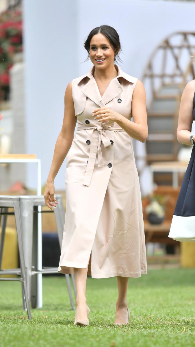 The Duchess of Sussex wearing a Nonie dress in South Africa. Photo: Samir Hussein/WireImage