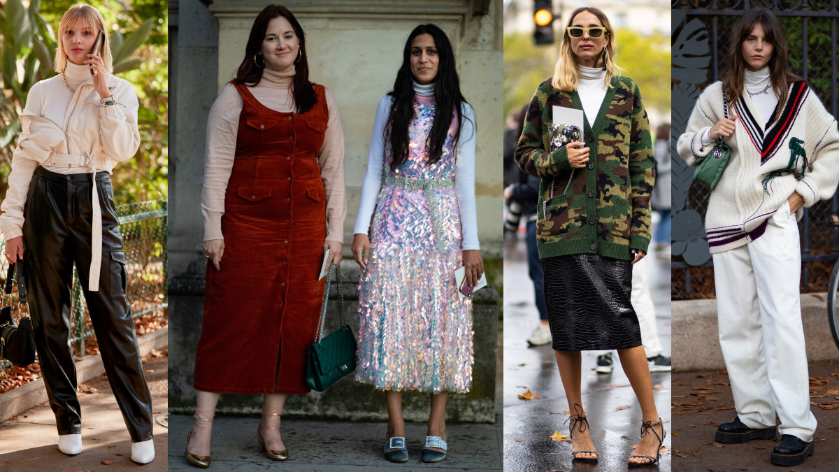 On the street at Paris Fashion Week Spring 2020. Photos: Imaxtree; Chiara Marina Grioni/Fashionista (3)