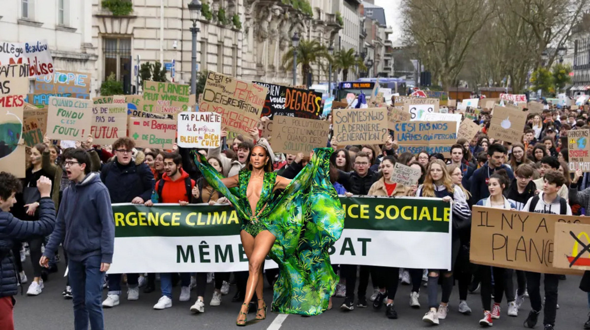 "J.Lo in the Versace ""jungle"" dress and French climate strikers. Collage courtesy of Thomas Lélu"