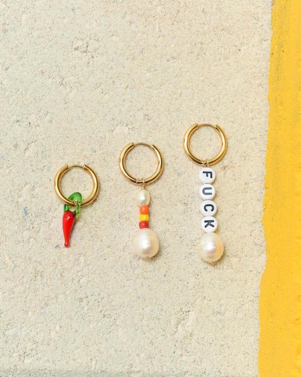 "Éliou Trio Earring Pack ""Fuck, It's Hot,"" $135, available here."