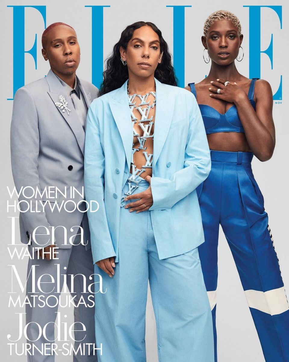 "Lena Waithe, Melina Matsouka and Jodie Turner-Smith for the ""Elle'"" Women in Hollywood issue."