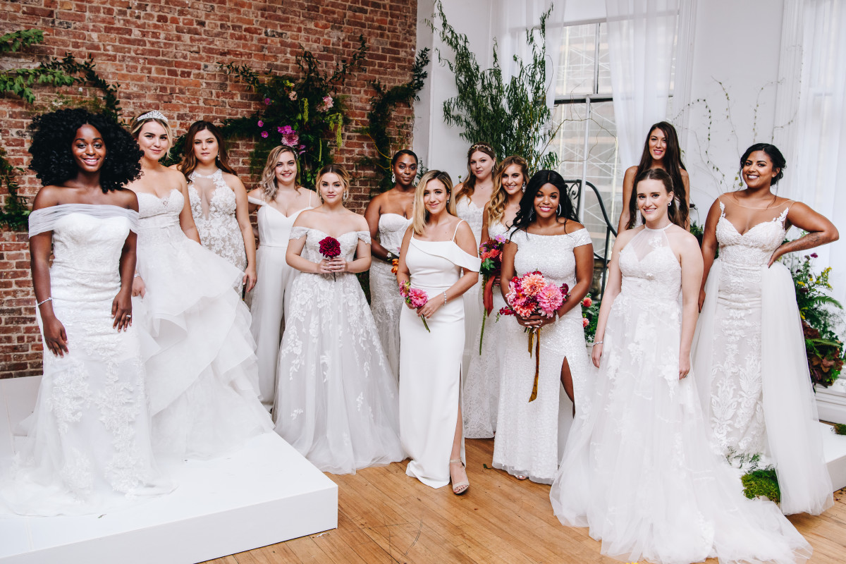 Influencer real brides at the David's Bridal Spring 2020 presentation on Oct. 3. Lavondra Shinholster, sixth from left. Photo: Courtesy of David's Bridal