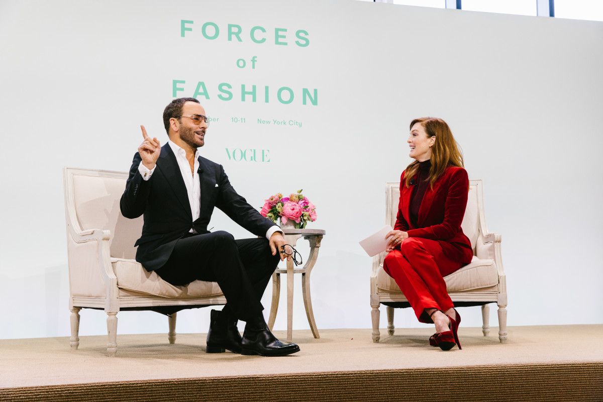 Tom Ford and Julianne Moore speaking on Vogue's Forces of Fashion panel. Photo: Corey Tenold for Vogue Magazine