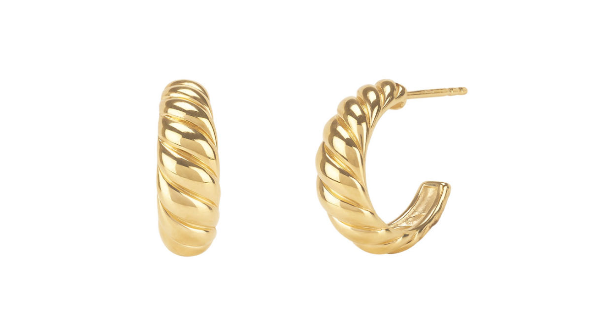 Mejuri Croissant Dôme Earrings, $65, available here.