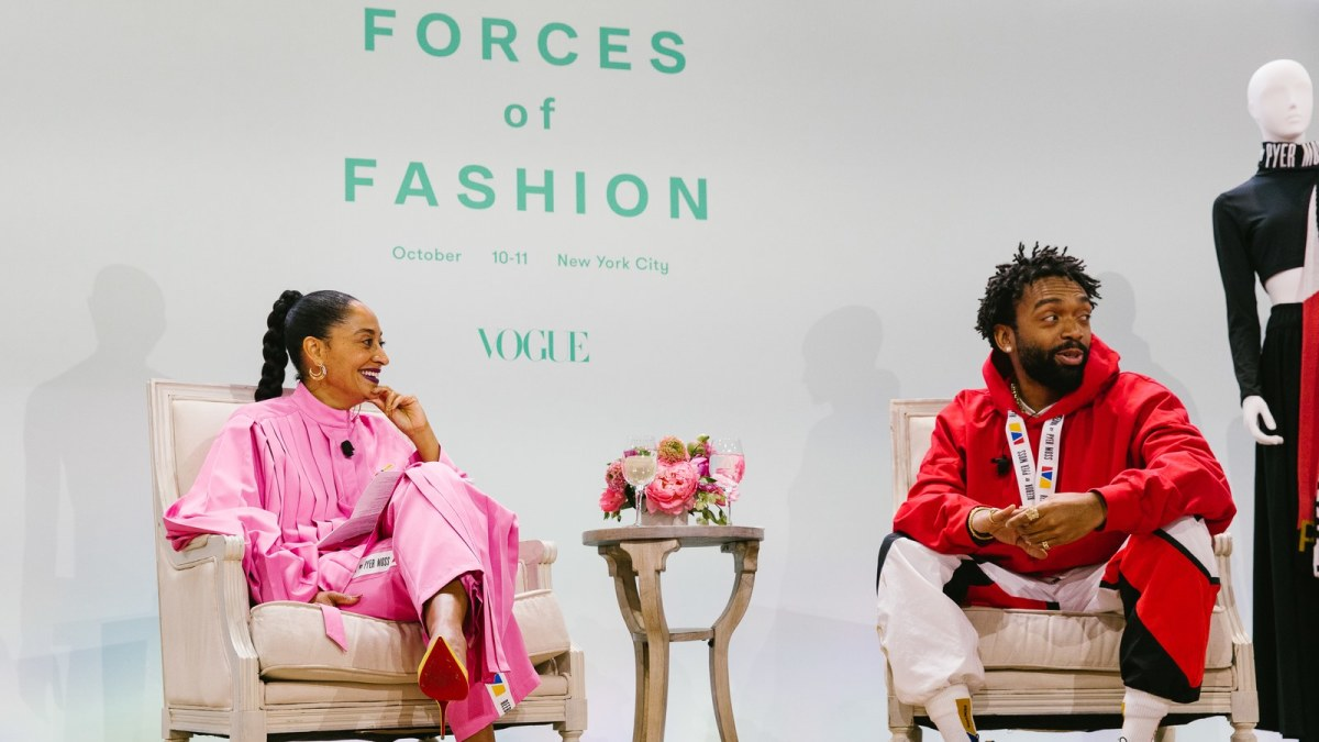 Tracee Ellis Ross and Kerby Jean-Raymond speaking on Vogue's Forces of Fashion panel. Photo: Corey Tenold for Vogue Magazine
