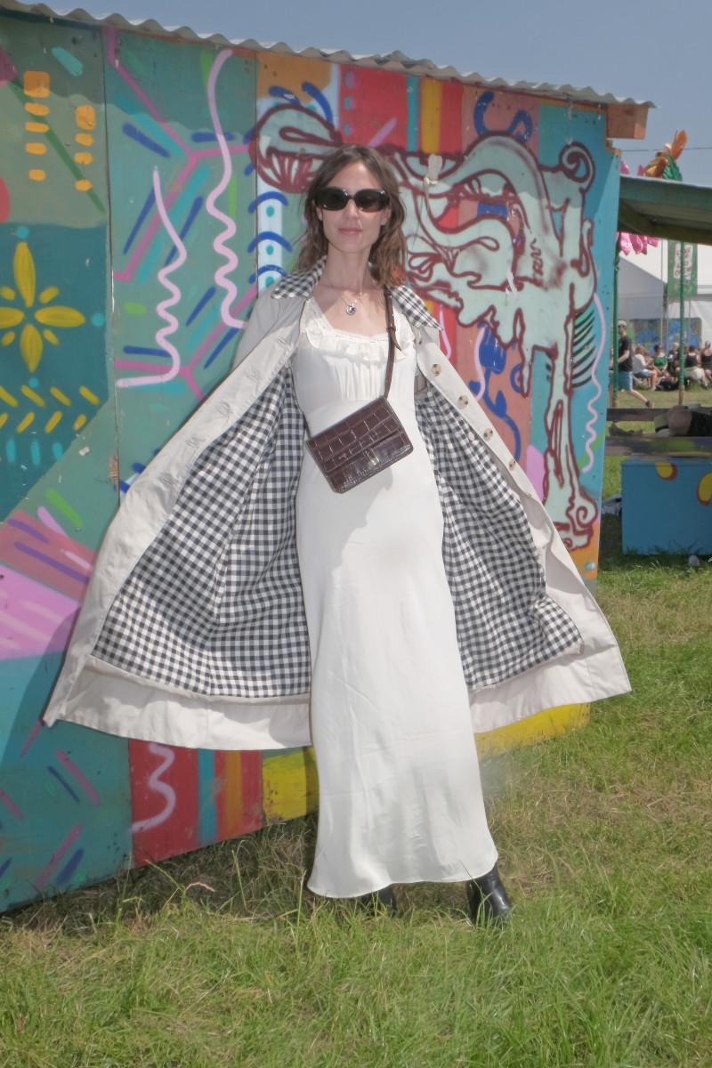 """Alexa Chung wearing the """"Glenda"""" jacket at Glastonbury Festival. Photo: Courtesy of Barbour"""