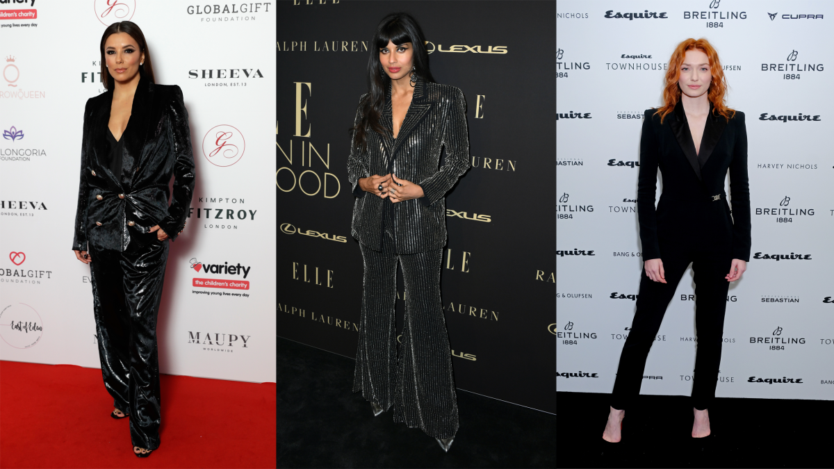 Eva Longoria Baston, Jameela Jamil and Eleanor Tomlinson. Photos: Getty Images