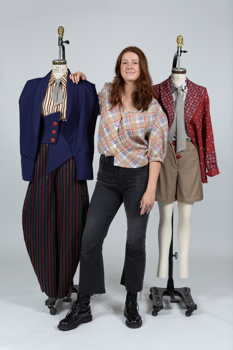 Georgianna Wells, a fashion design student at the Fashion Institute of Technology, with her winning garments designed for Katherine from 'Newsies.' Photo: Courtesy of FIT