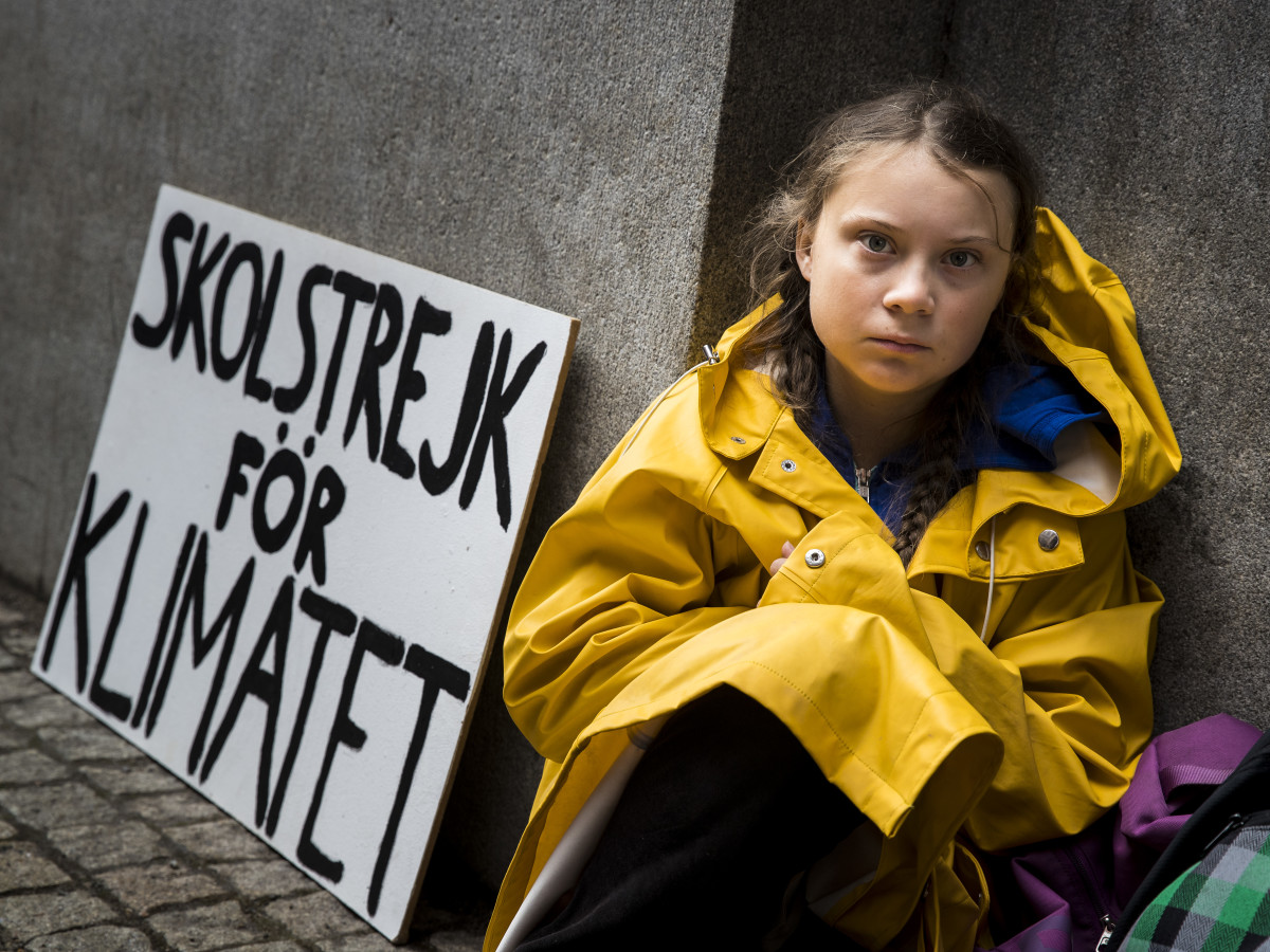 Greta Thunberg with her iconic sign. Photo: Michael Campanella/Getty Images