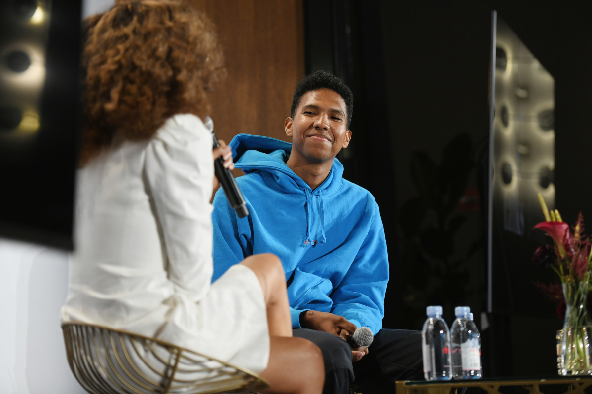Tyler Mitchell and Elain Welteroth speak onstage at The Talks during New York Fashion Week. Photo: Noam Galai/Getty Images