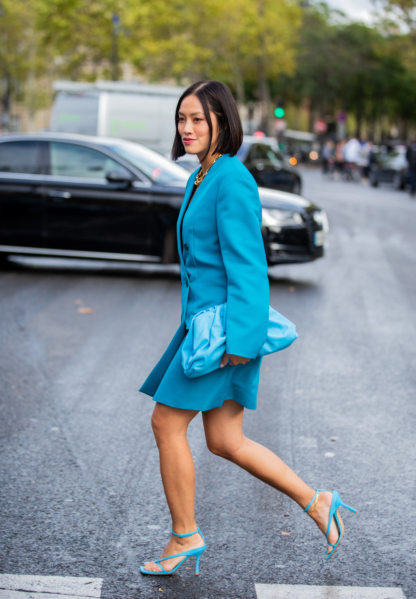 Bottega Veneta in street style at Paris Fashion Week. Photo: Christian Vierig/Getty Images