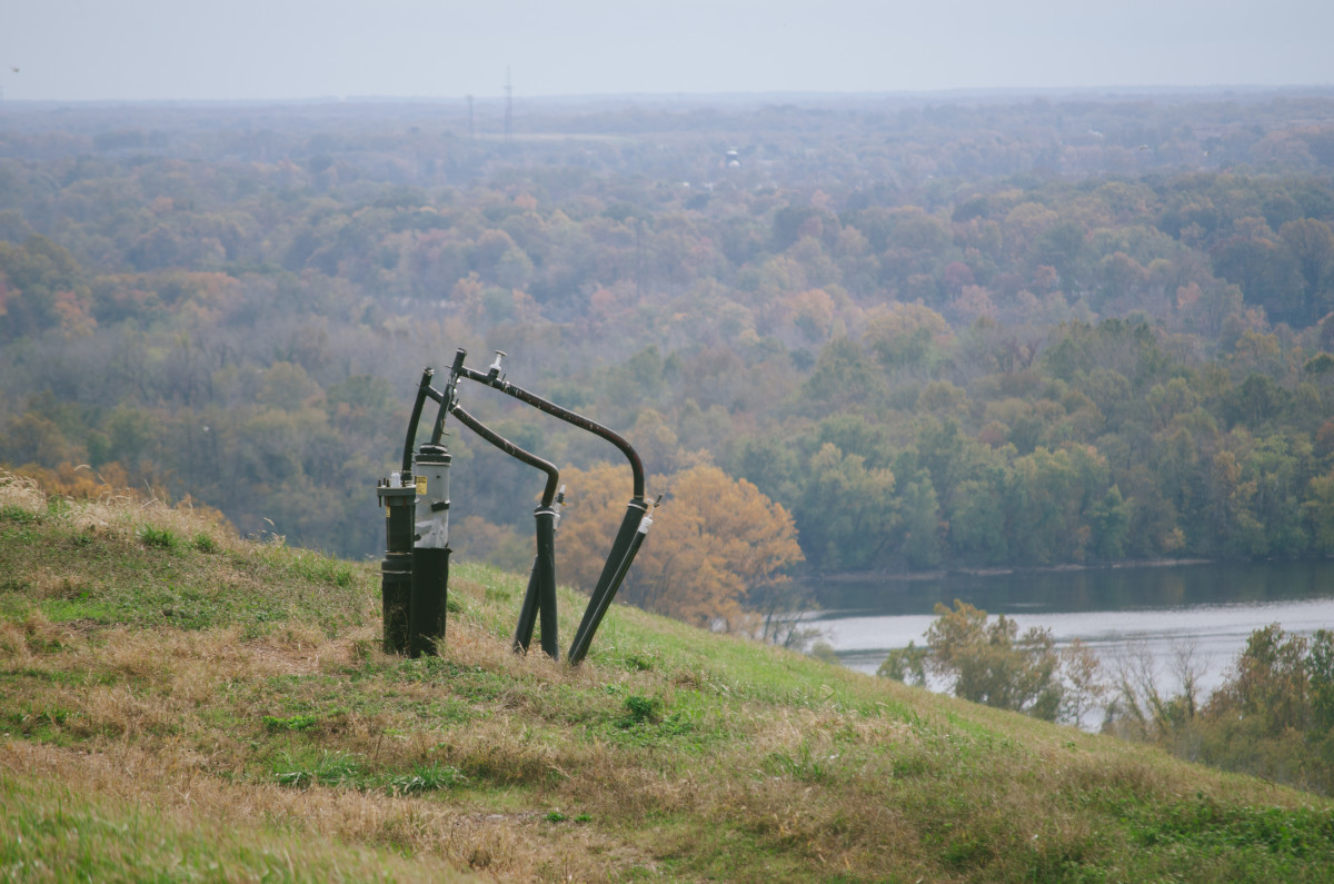 A methane capture pump on the grassy knoll of a closed landfill. Photo: Whitney Bauck/Fashionista