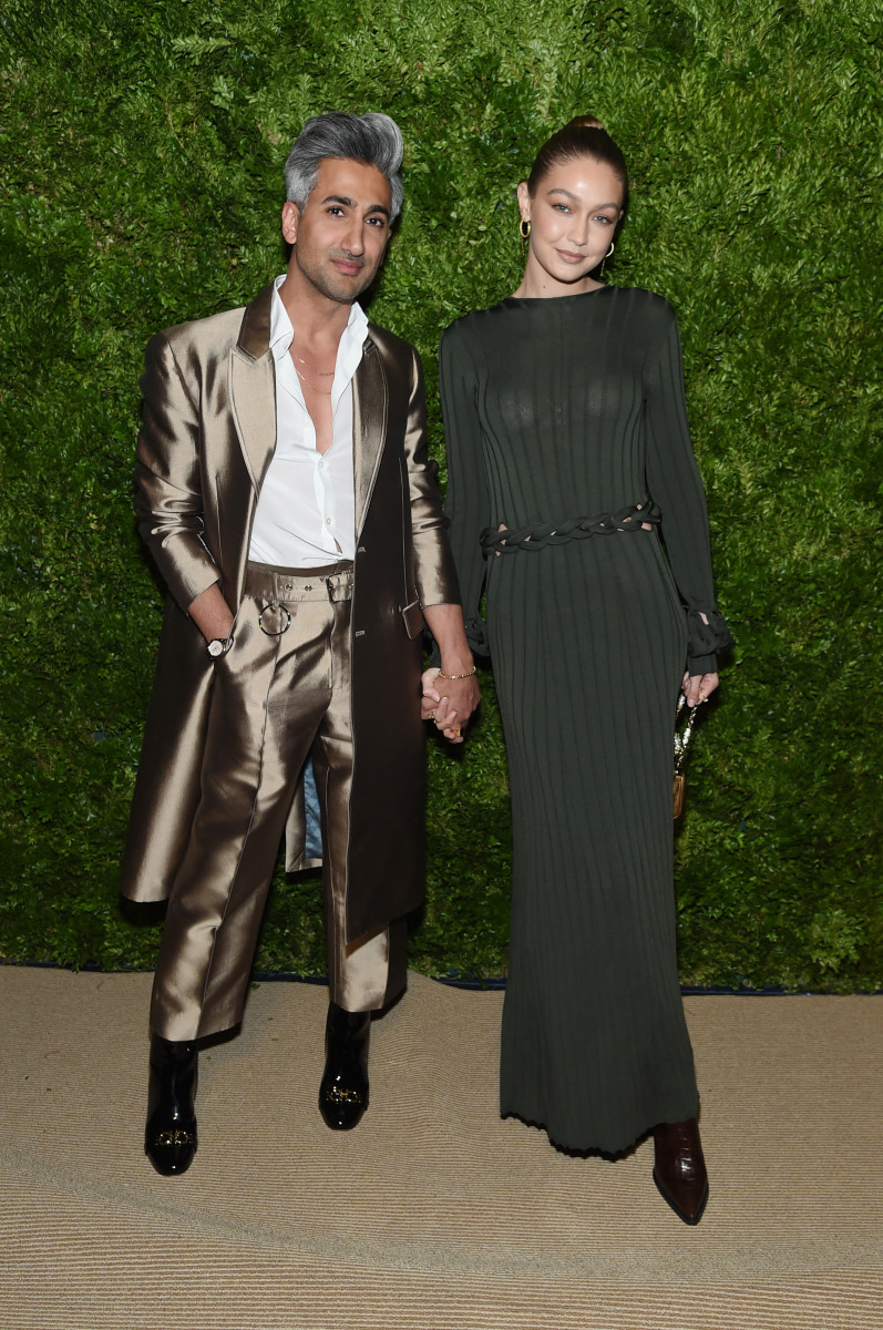 Tan France and Gigi Hadid attend the 2019 CFDA/Vogue Fashion Fund Awards. Photo: Jamie McCarthy/Getty Images