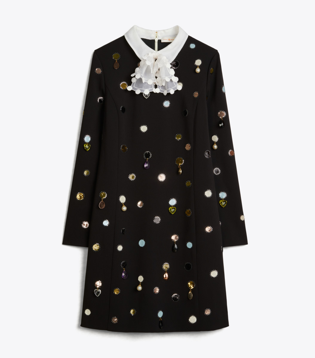 Tory Burch Convertible Jewel Embroidered Shift Dress, $698, available here.