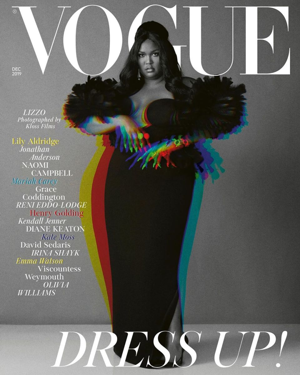 "Lizzo in Versace for the cover of the ""British Vogue"" December 2019 issue. Image: Alec Maxwell for British 'Vogue'"