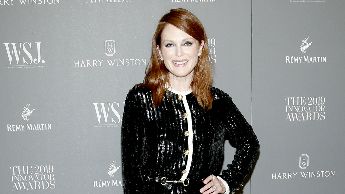 Julianne Moore Wore A Jazzed Up Celine Cardigan To The Wsj