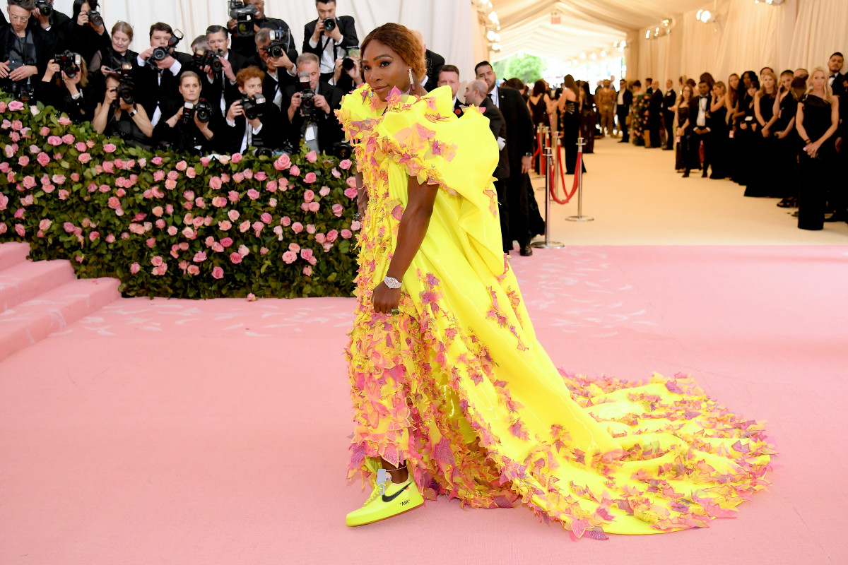 Williams at the 2019 Met Gala in Atelier Versace and Nike. Photo: Neilson Barnard/Getty Images