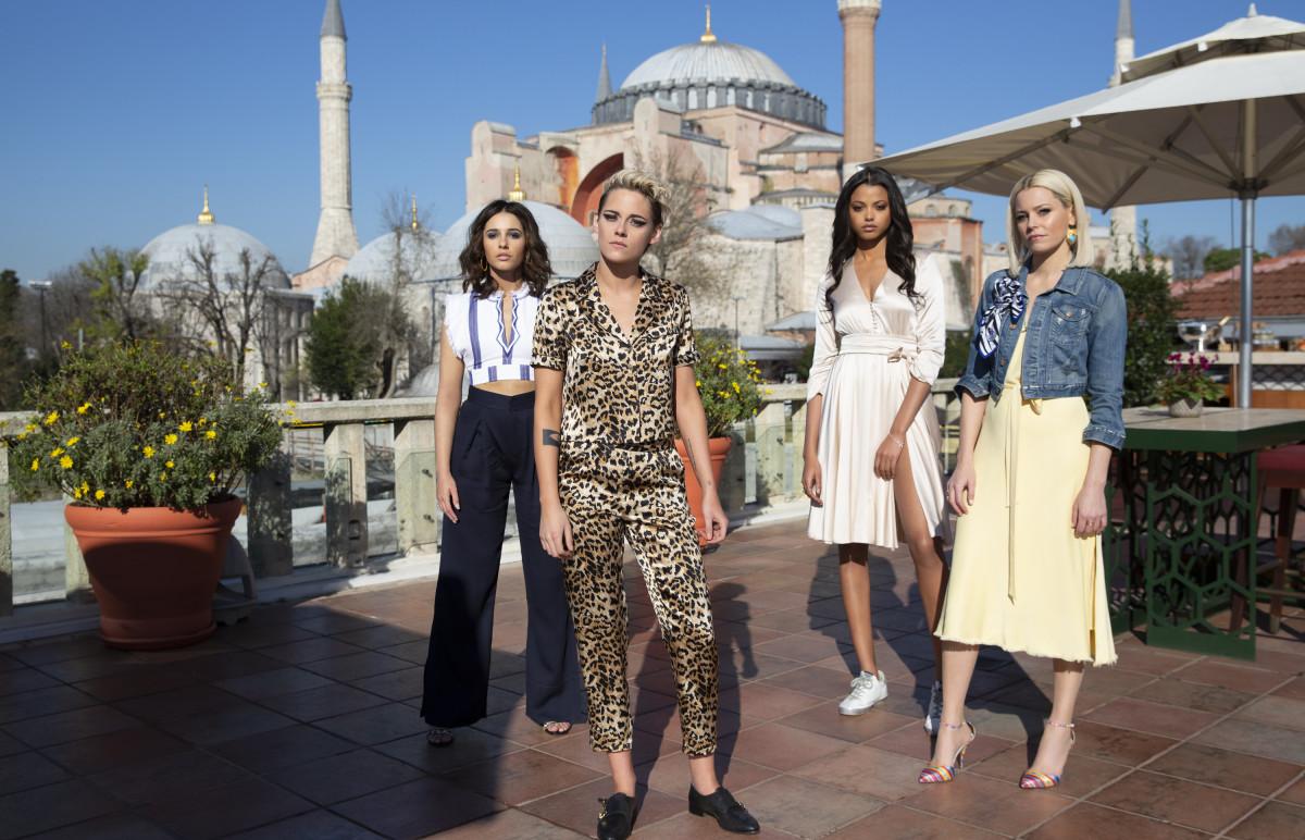 Elena (Naomi Scott), Sabina (Kristen Stewart), Jane (Ella Balinska) and Bosley (Elizabeth Banks). Photo:Chiabella James/Courtesy of Sony Pictures Entertainment