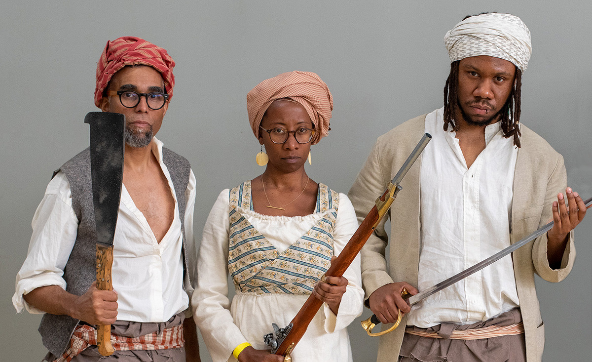 Artist Dread Scott with others in costumes designed by Alison L. Parker for the Slave Rebellion Reenactment. Photo: Courtesy of the Slave Rebellion Reenactment