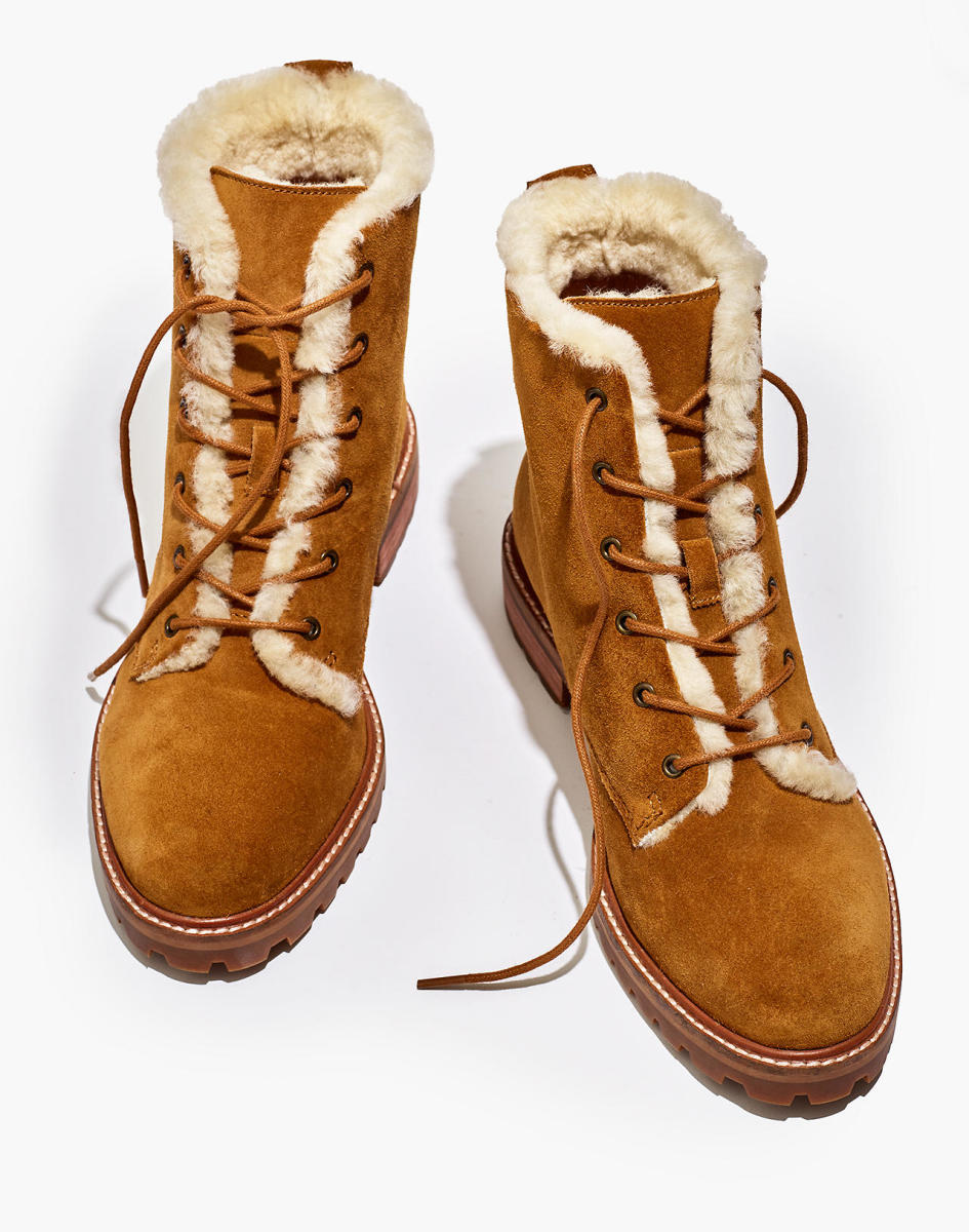 Madewell The Clair Lace-Up Boot in Shearling-Lined Suede, $228, available here.