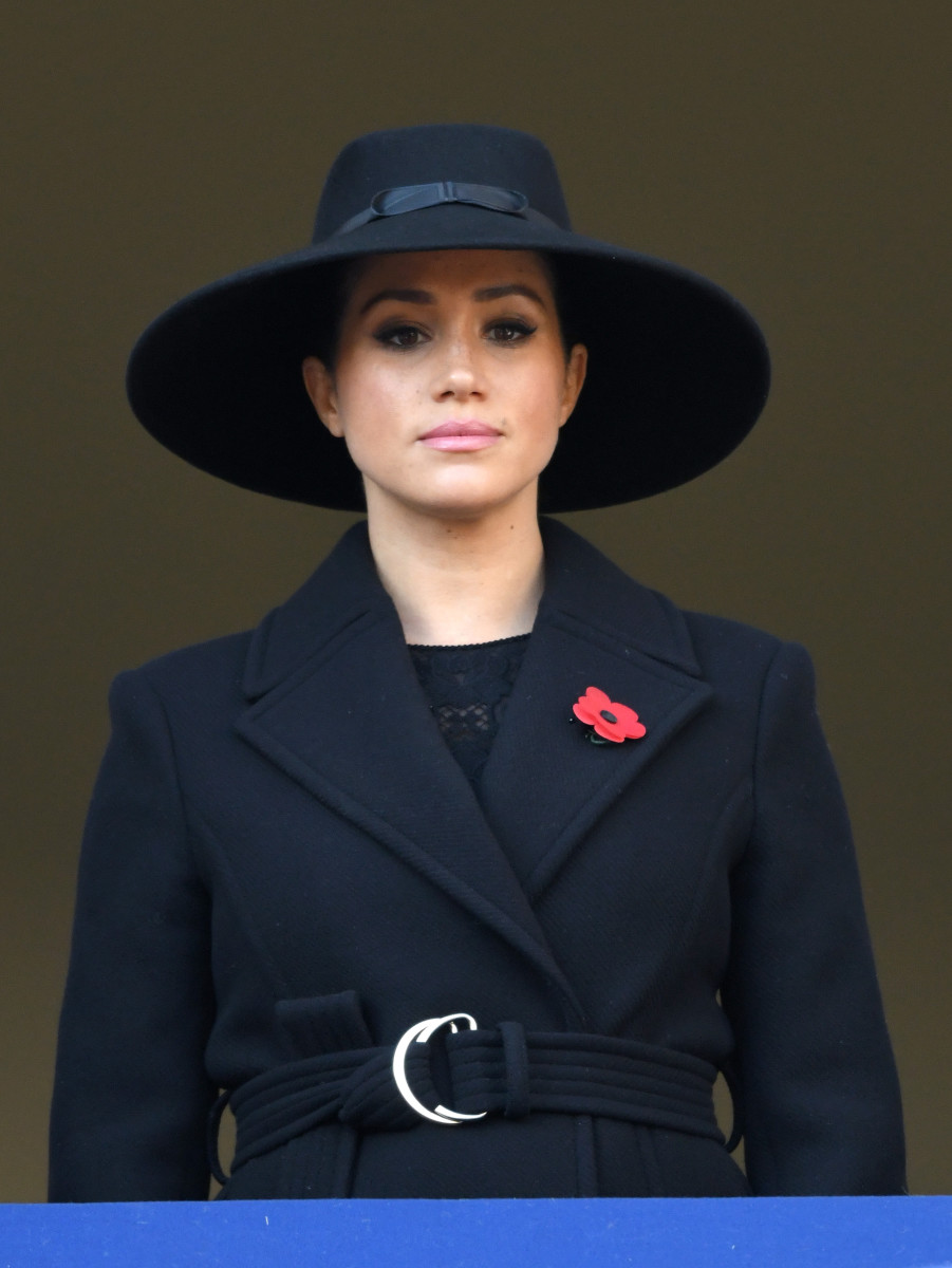 Meghan Markle, Duchess of Sussex at the annual Remembrance Sunday memorial at The Cenotaph in London, England. Photo: Karwai Tang/WireImage