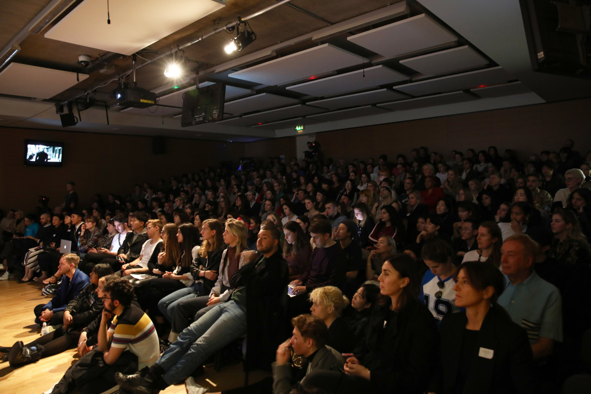 Students attend a conversation hosted by Central Saint Martins. Photo: John Phillips/Getty Images