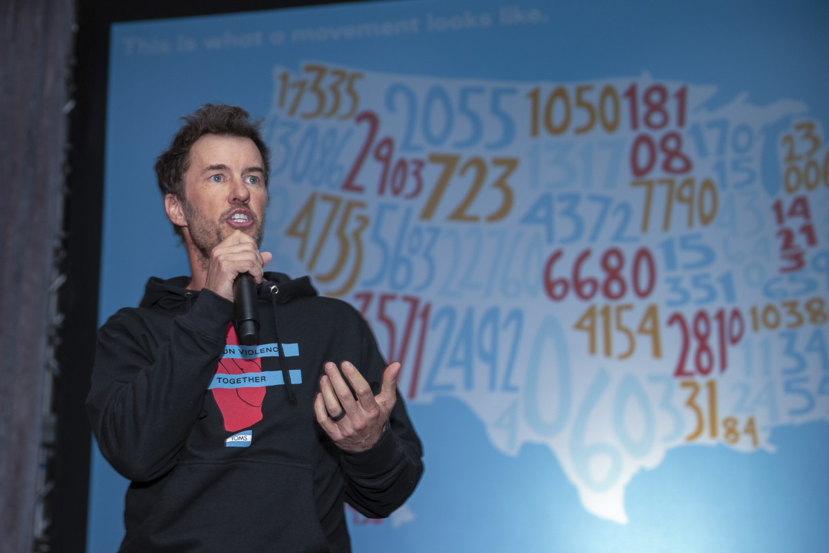Blake Mycoski speaks at a Toms-hosted rally to end gun violence. Photo: Tasos Katopodis/Getty Images for TOMS Shoes