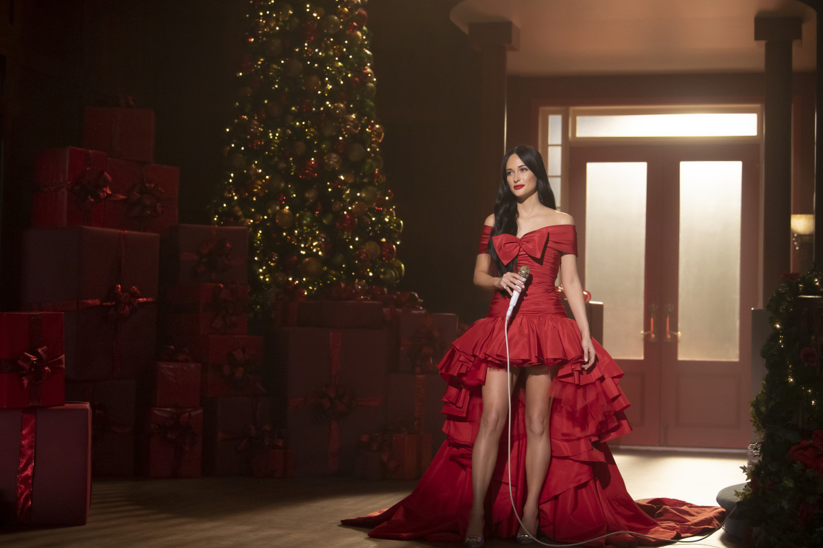 "Kacey Musgraves in Giambattista Valli in ""The Kacey Musgraves Christmas Show."" Photo: Anne Marie Fox/Courtesy of Amazon Studios"