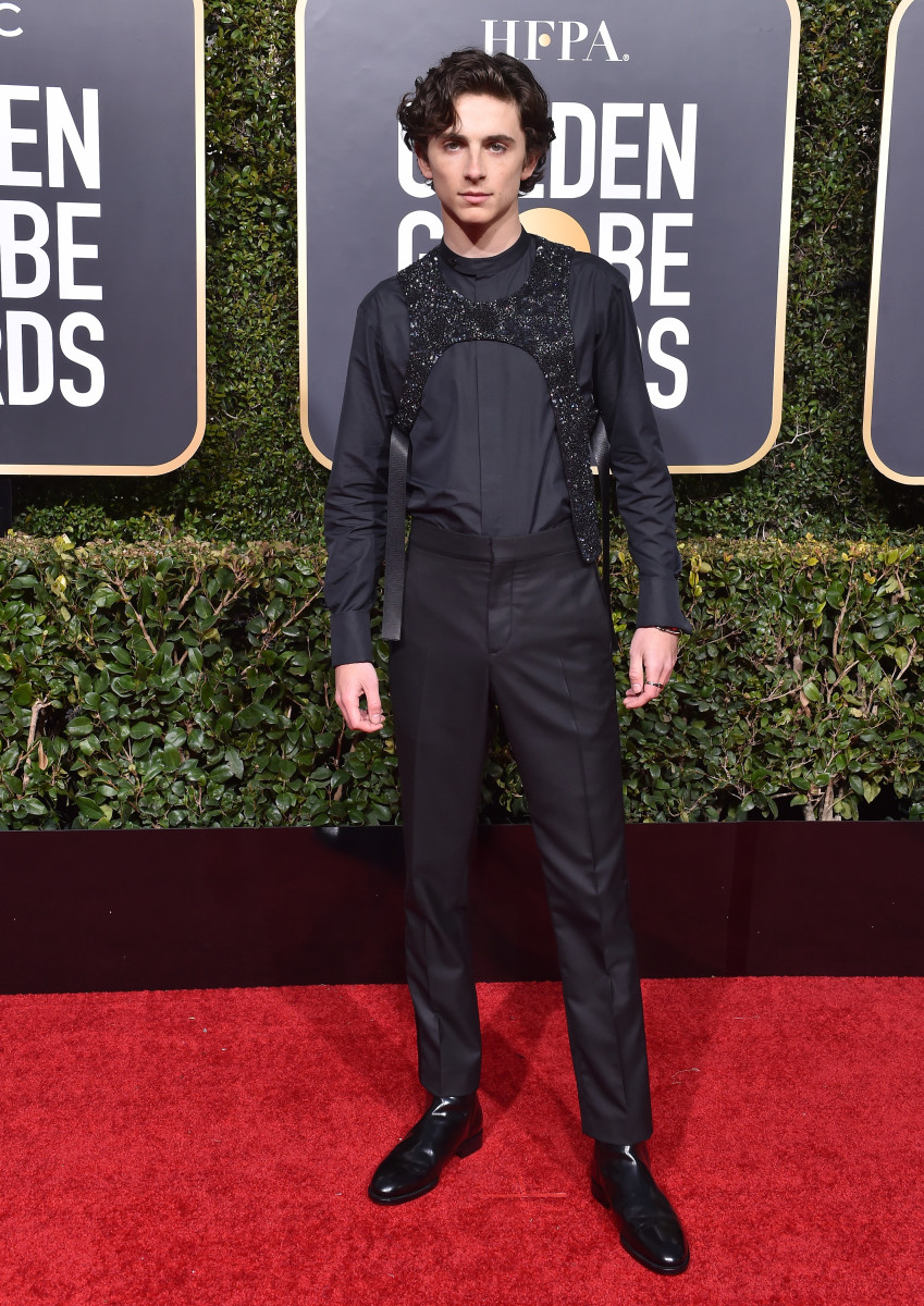 Timothée Chalamet and Timothée Chalamet's Harness™ in Louis Vuitton at the 2019 Golden Globes. Photo: Axelle/Bauer-Griffin/FilmMagic