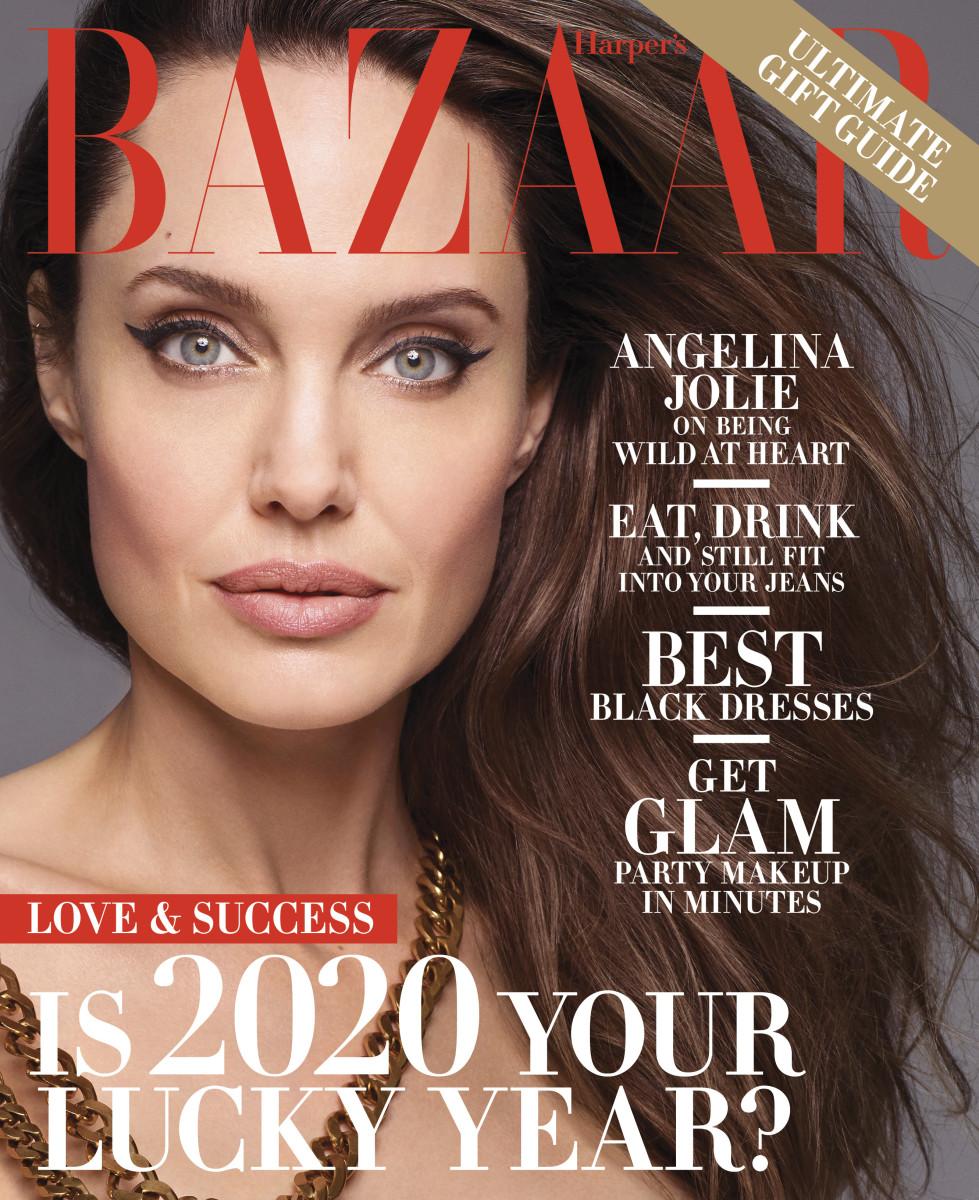 Angelina Jolie covers the 'Harper's Bazaar' December 2019/January 2020 issue. Photo:Sølve Sundsbø/Courtesy of Hearst