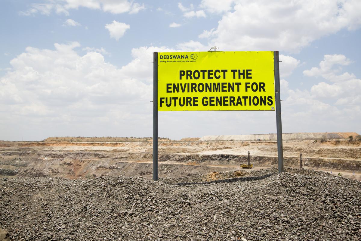 A sign at Orapa, Botswana's largest diamond mine. Photo: Sophie Elgort/Courtesy of Forevermark