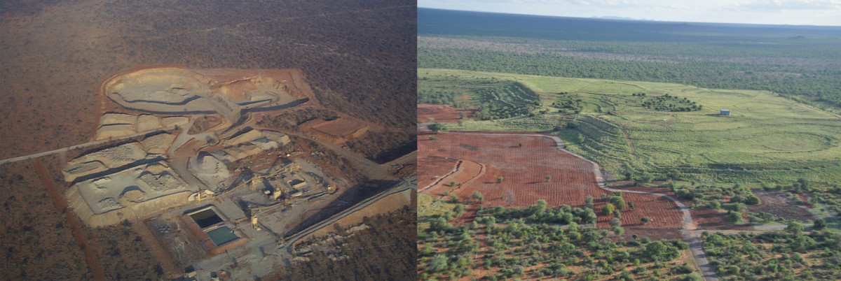 The De Beers-operated Oaks Mine in South Africa was officially closed in 2008. The image on the left is an aerial view of the mine in 1999 shortly after it began operations, while the image on the left depicts the mine site in 2011, after a few years of rehabilitation. Photos: Courtesy of Forevermark