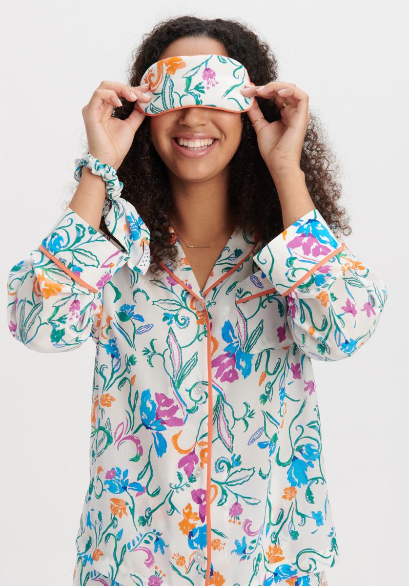 Tanya Taylor's pajamas and eye masks, made from leftover fabrics.