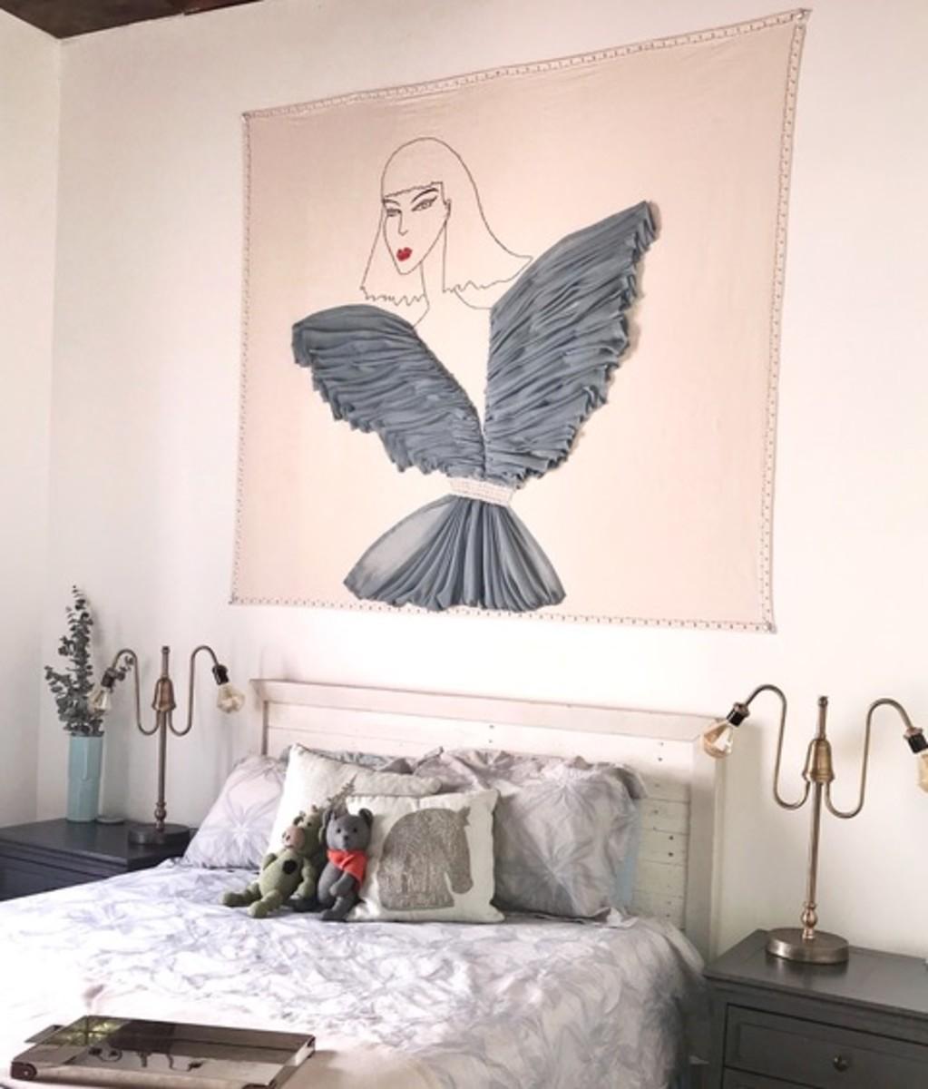 A piece of wall art made using Celestino's waste fabrics. Photo:Kade Johnson/Courtesy of Celestino Couture